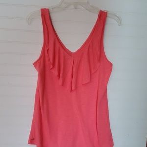 Lilly Pulitzer Size S Coral Ruffle Tank Top